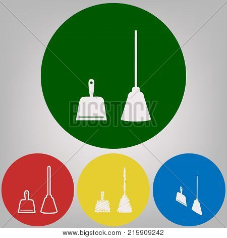 Dustpan vector sign. Scoop for cleaning garbage housework dustpan equipment. Vector. 4 white styles of icon at 4 colored circles on light gray background.