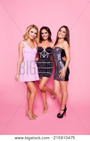 Bachelor Hen Party! Portrait Of Three Cute, Nice, Slim, Attractive Girls With Long Legs, Enjoying Ti