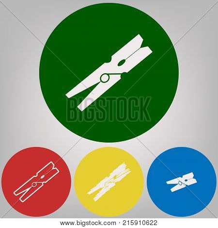 Clothes peg sign. Vector. 4 white styles of icon at 4 colored circles on light gray background.