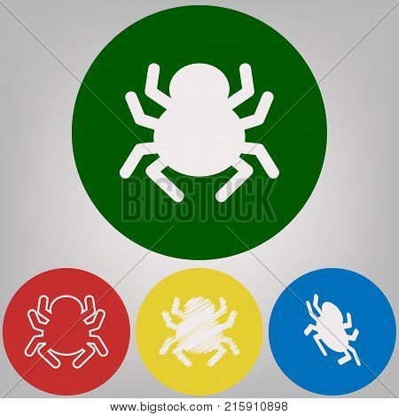 Spider sign illustration. Vector. 4 white styles of icon at 4 colored circles on light gray background.