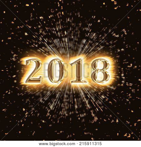 Happy New Year 2018 with exploding effect on black background. Number and digits