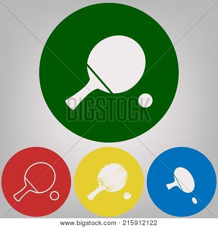 Ping pong paddle with ball. Vector. 4 white styles of icon at 4 colored circles on light gray background.