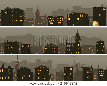 Set of cartoon horizontal banner of big night city with roofs windows light in dusk.