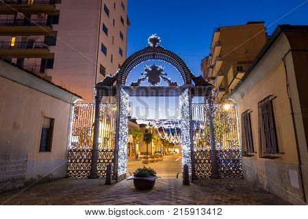 1840S Decorated Gate At Christmas Time In Follonica, Italy