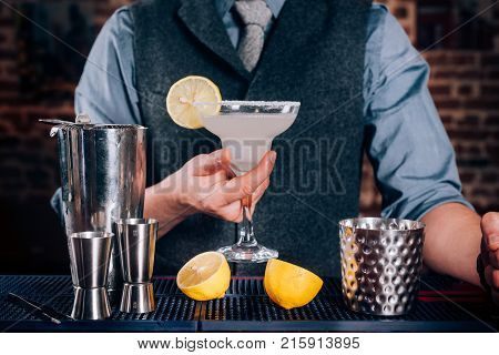 Bartender Serving Drinks At Bar, Pub Or Restaurant. Cocktail, Alcoholic Beverages At Bar With Margar