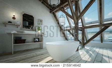 Modern minimalist bathroom in a loft conversion with freestanding oval bathtub in front of structural feature beams and a large view window. 3d render