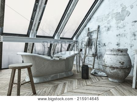 Angled view of large window behind bathtub inside 3D monochrome room with alternating wooden pattern floors. 3d Rendering.