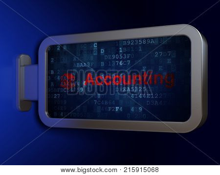Banking concept: Accounting and Money Box on advertising billboard background, 3D rendering