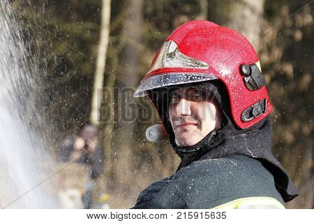Belarus Gomel 04/06/2017 extinguishing forest fire.BelarusFire man.Portrait of a man who works as a fireman