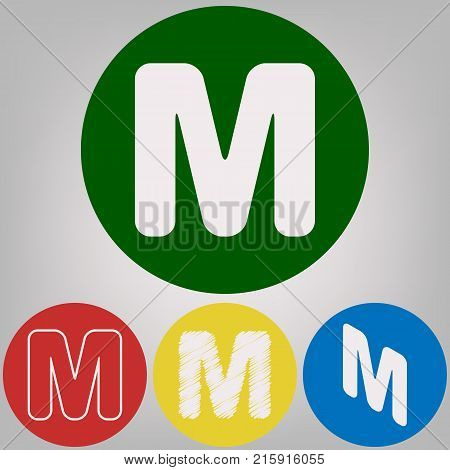 Letter M sign design template element. Vector. 4 white styles of icon at 4 colored circles on light gray background.