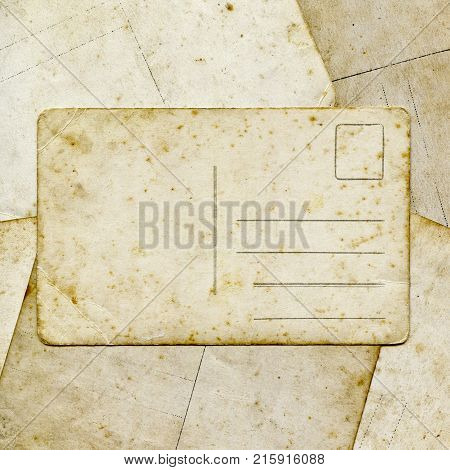 Blank old vintage postcard on the paper background