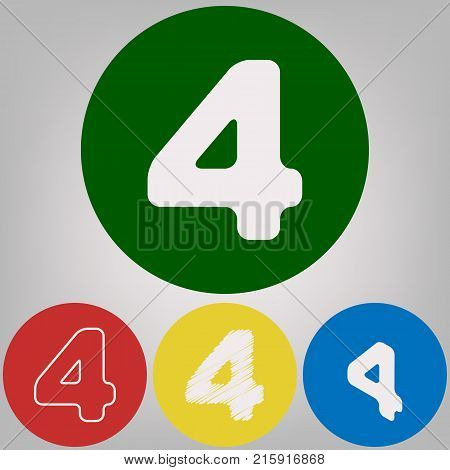 Number 4 sign design template element. Vector. 4 white styles of icon at 4 colored circles on light gray background.
