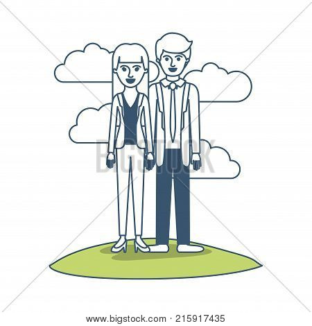 couple in color sections silhouette scene outdoor and her with blouse and jacket and pants and heel shoes with straight long hair and him with suit and tie and pants and shoes with short hair vector illustration