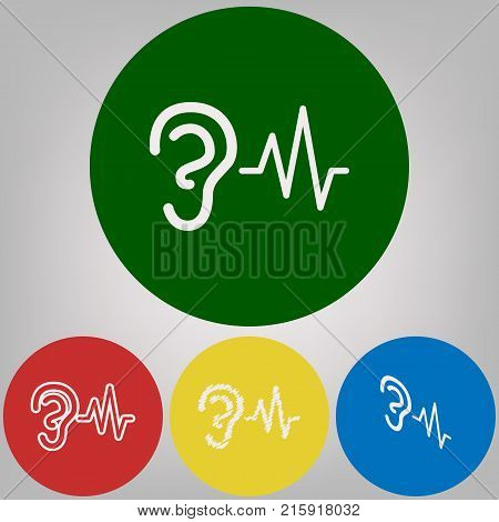 Ear hearing sound sign. Vector. 4 white styles of icon at 4 colored circles on light gray background.