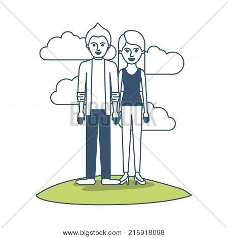 couple in color sections silhouette scene outdoor and him with shirt and jacket and pants and shoes with short hair and her with t-shirt sleeveless and pants and heel shoes with long straight hair vector illustration