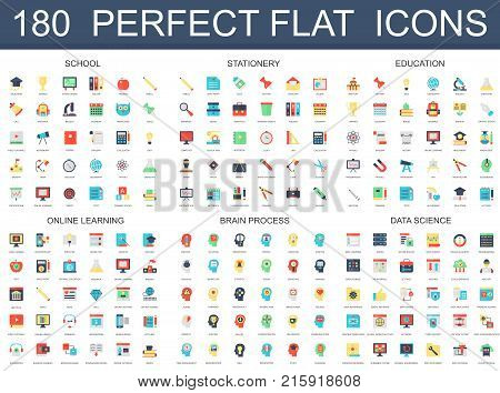 180 modern flat icons set of school, stationery, education, online learning, brain process, data science icons