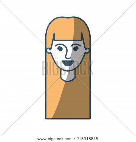 female face with long straight hair in color sections silhouette vector illustration