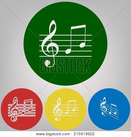 Music violin clef sign. G-clef and notes G, H. Vector. 4 white styles of icon at 4 colored circles on light gray background.