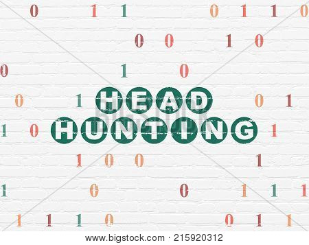 Business concept: Painted green text Head Hunting on White Brick wall background with Binary Code