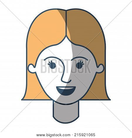 female face with short straight hairstyle in color sections silhouette vector illustration