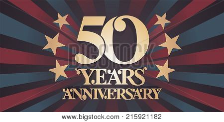50 years anniversary vector icon logo banner. Design element with abstract vintage background for 50th anniversary card