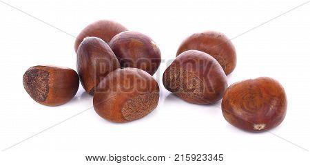 Fresh chestnuts on white background snack, husk, eating, vegetarian, nut, peel,