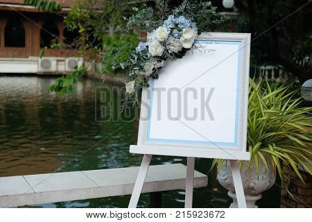 Empty of pretty wedding picture frame in wedding party