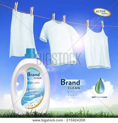 Plastic container with laundry detergent. Mock-up package with label design. Washing white clothes hanging on the rope. Stock vector illustration.