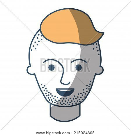 male face with high fade haircut and stubble beard in color sections silhouette vector illustration