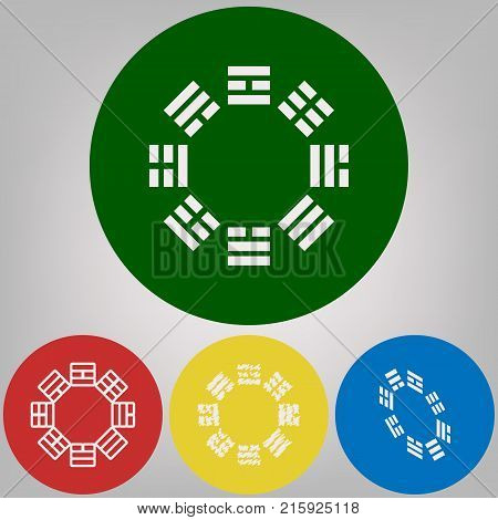 Bagua sign. Vector. 4 white styles of icon at 4 colored circles on light gray background.