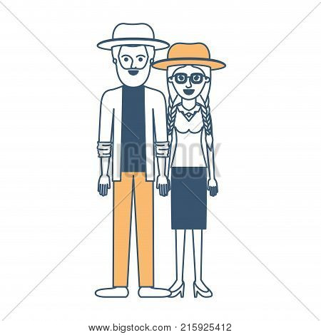 couple in color sections silhouette and both with hat and him with beard and shirt and jacket and pants and shoes and her with glasses blouse and skirt and heel shoes with braided hair vector illustration