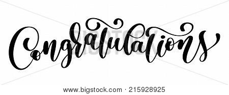 Congratulations calligraphy lettering text card with. Template for Greetings, Congratulations, Housewarming posters, Invitations, Photo overlays. Vector illustration.