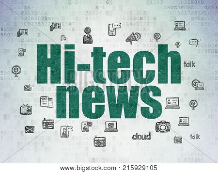 News concept: Painted green text Hi-tech News on Digital Data Paper background with  Hand Drawn News Icons