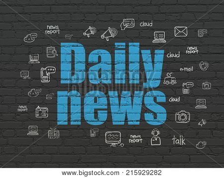 News concept: Painted blue text Daily News on Black Brick wall background with  Hand Drawn News Icons