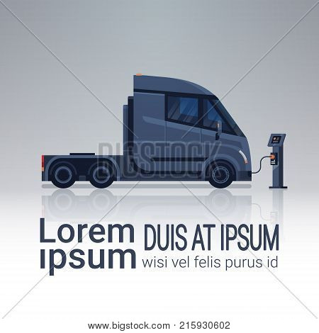 Charging Semi Truck Cabin At Electic Charger Station Banner With Copy Space Vector Illustration