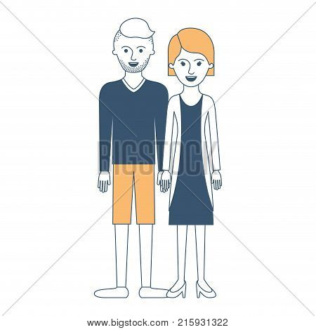 couple in color sections silhouette and him with t-shirt long sleeve and short pants and shoes with high fade haircut and stubble beard and her with blouse and jacket and skirt and heel shoes with short hair vector illustration