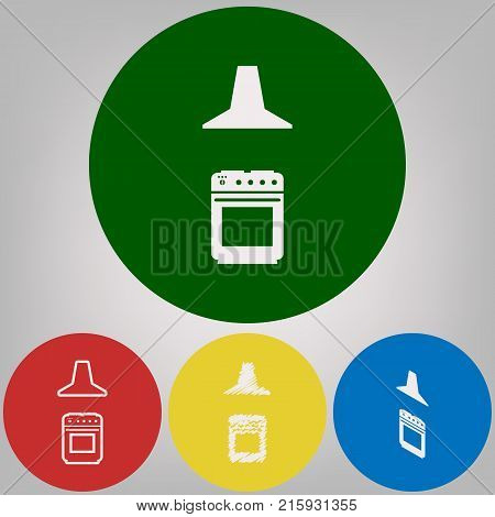 Electric or gas stove and extractor kitchen hood sign. Vector. 4 white styles of icon at 4 colored circles on light gray background.