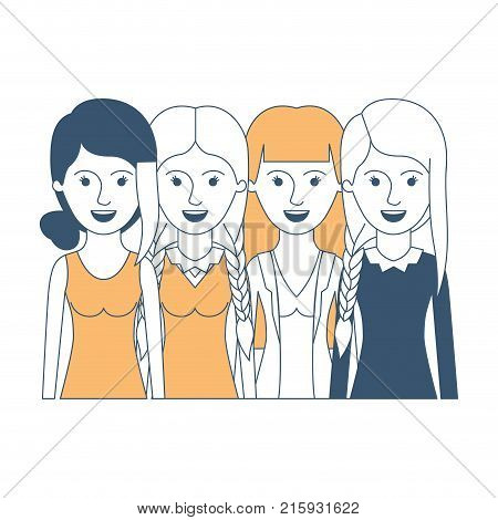 women in half body with casual clothes and hairstyle braided fringe collected and straight in color sections silhouette vector illustration
