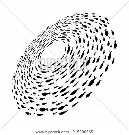 School of fish. A group of silhouette fish swim in a circle. Marine life. Vector illustration.