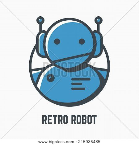 Retro robot line illustration. Blue android with headphones and antennas. Mono color vector. Logo mascot or icon of old-fashioned bot. Lights and shadow style. Linear modern trendy vector banner.