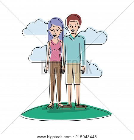 couple in watercolor silhouette scene outdoor and her with t-shirt sleeveless and pants and heel shoes with long straight hair and him with sweater and short pants and shoes with short hair vector illustration