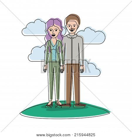 couple in watercolor silhouette scene outdoor and her with blouse and jacket and pants and heel shoes with wavy long hair and him with shirt and pants and shoes with short hair and moustache vector illustration