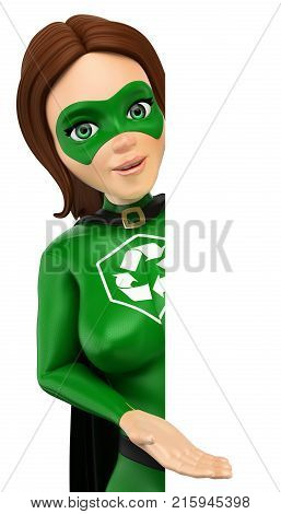 3d environment people illustration. Woman superhero of recycling pointing aside. Blank. Isolated white background.