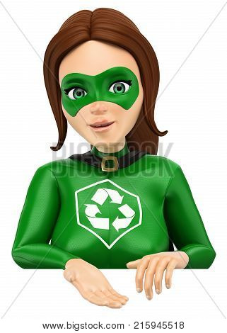 3d environment people illustration. Woman superhero of recycling pointing down. Blank. Isolated white background.