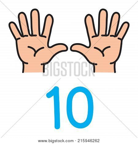 Kid's hands showing the number ten by fingers. Icon of hand and fingers for counting education . Childrens vector illustration