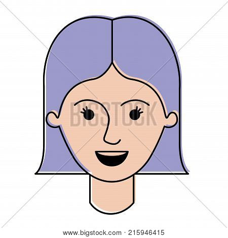 female face with short straight hairstyle in watercolor silhouette vector illustration