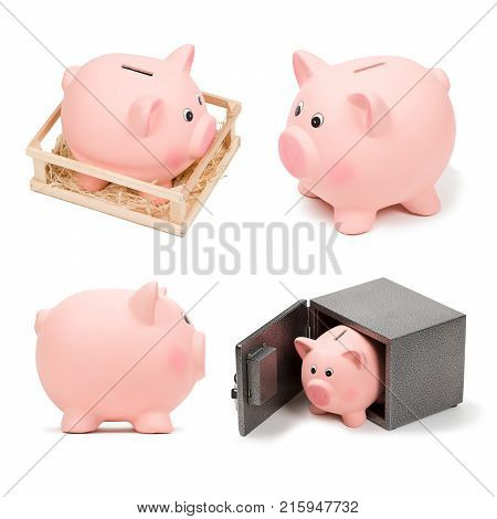Set of pink ceramic piggy banks, isolated on white background. Side view, piggy in cage, piggy bank in a safe. Deposit security, bank investment, money concept. Graphic design elements for poster, flyer, advertisement