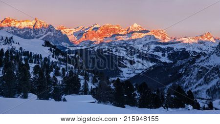 Panoramic view of sunset over Dolomites Fanis from Passo Gardena, South Tirol, Dolomites mountains, Italy