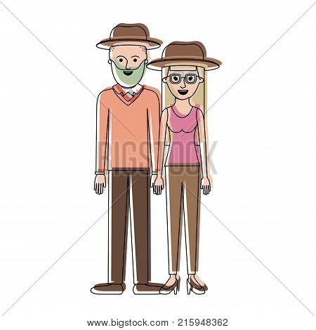 couple in watercolor silhouette and both with hat and him with beard and sweater and pants and shoes and her with glasses t-shirt sleeveless and pants and heel shoes with long straight hair vector illustration