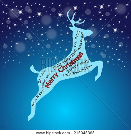 glossy blue Merry Christmas wordcloud on a reindeer - illustration